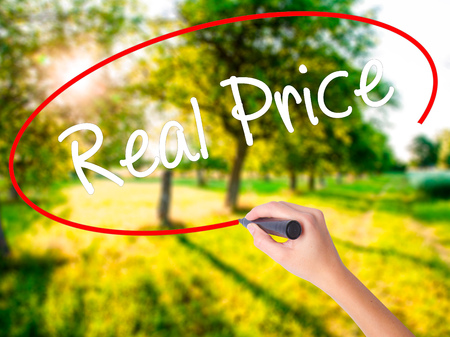 Woman Hand Writing Real Price on blank transparent board with a marker isolated over green field background. Stock Photo Stock Photo