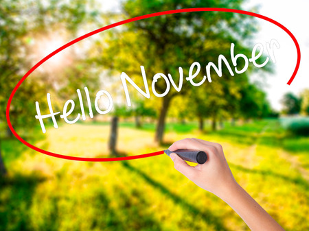 Woman Hand Writing Hello November on blank transparent board with a marker isolated over green field background. Business concept. Stock Photo