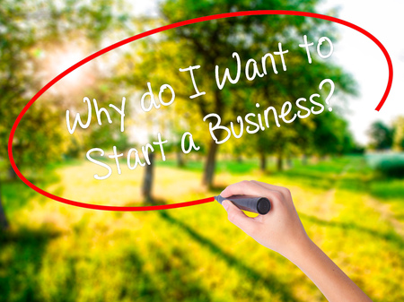 Woman Hand Writing Why do I Want to Start a Business? on blank transparent board with a marker isolated over green field background. Business concept. Stock Photo