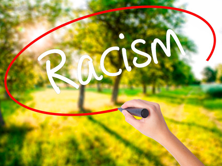 Woman Hand Writing Racism on blank transparent board with a marker isolated over green field background. Stock Photo