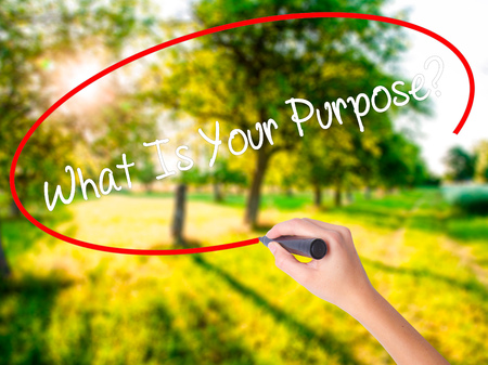 Woman Hand Writing What Is Your Purpose?  on blank transparent board with a marker isolated over green field background. Stock Photo