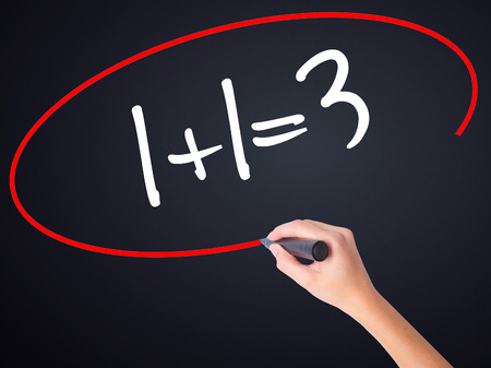 Woman Hand Writing 1+1=3 on blank transparent board with a marker isolated over black background. Stock Photo