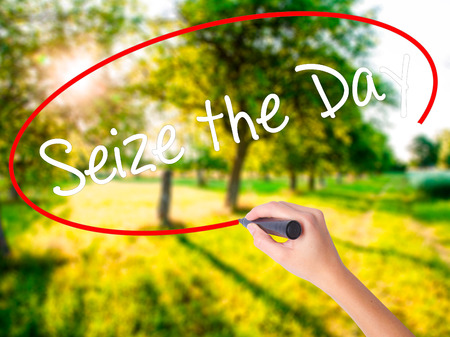 seize: Woman Hand Writing Seize the Day on blank transparent board with a marker isolated over green field background. Stock Photo