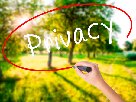 private access: Woman Hand Writing Privacy on blank transparent board with a marker isolated over green field background. Business concept. Stock Photo