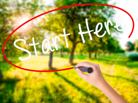 Woman Hand Writing Start Here on blank transparent board with a marker isolated over green field background. Business concept. Stock Photo