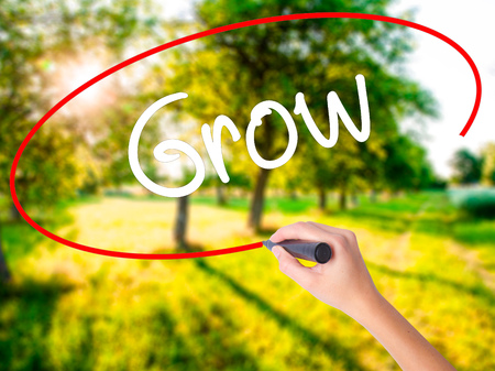 Woman Hand Writing  Grow on blank transparent board with a marker isolated over green field background. Stock Photo Stock Photo