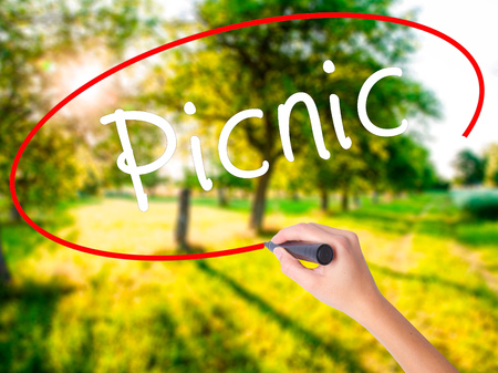 pic nic: Woman Hand Writing Picnic on blank transparent board with a marker isolated over green field background. Business concept. Stock Photo