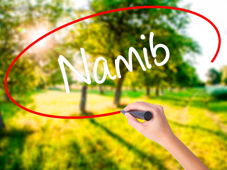 Woman Hand Writing Namib  on blank transparent board with a marker isolated over green field background. Business concept. Stock Photo Stock Photo