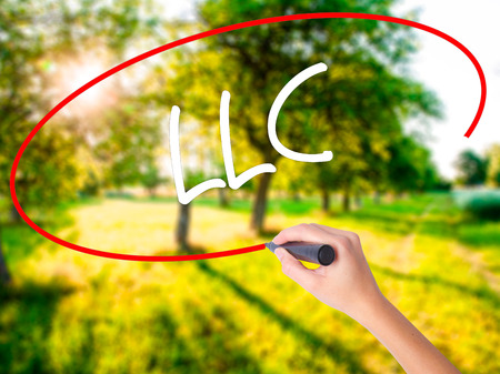 Woman Hand Writing  LLC (Limited Liability Company)  on blank transparent board with a marker isolated over green field background. Stock Photo