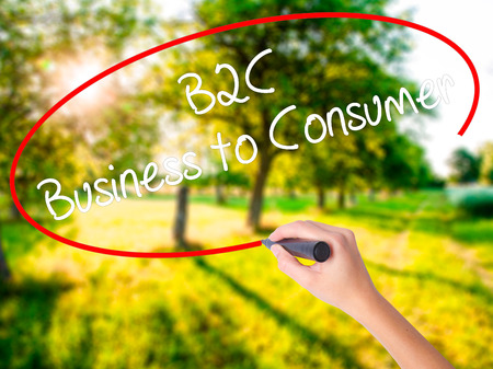 Woman Hand Writing B2C Business to Consumer on blank transparent board with a marker isolated over green field background. Stock Photo
