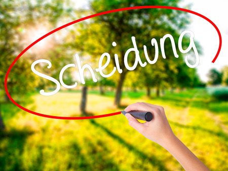 Woman Hand Writing Scheidung (Divorce in German) on blank transparent board with a marker isolated over green field background. Stock Photo Stock Photo