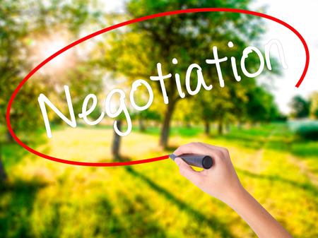 Woman Hand Writing Negotiation  on blank transparent board with a marker isolated over green field background. Stock Photo