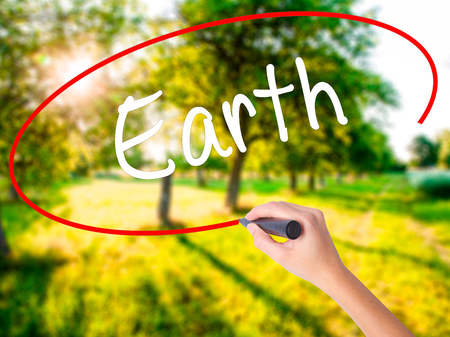 Woman Hand Writing Earth on blank transparent board with a marker isolated over green field background. Stock Photo Stock Photo