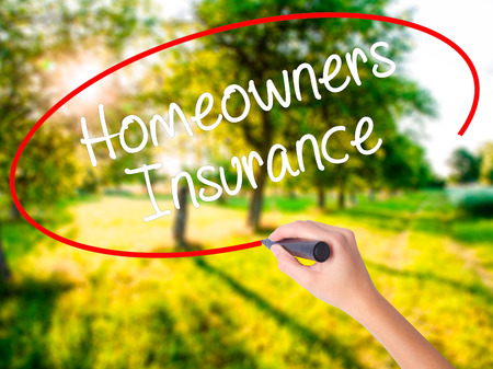 Woman Hand Writing Homeowners Insurance on blank transparent board with a marker isolated over green field background. Stock Photo