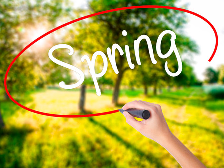 eastertime: Woman Hand Writing Spring on blank transparent board with a marker isolated over green field background. Stock Photo Stock Photo
