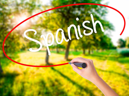 Woman Hand Writing Spanish on blank transparent board with a marker isolated over green field background. Stock Photo