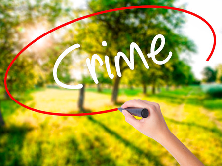 Woman Hand Writing Crime on blank transparent board with a marker isolated over green field background. Stock Photo Stock Photo