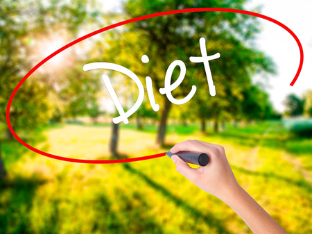 nutricion: Woman Hand Writing Diet (in Portuguese)  on blank transparent board with a marker isolated over green field background. Business concept. Stock Photo