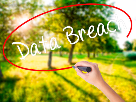 Woman Hand Writing Data Breach on blank transparent board with a marker isolated over green field background. Business concept. Stock Photo