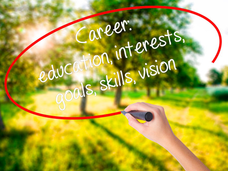 probation: Woman Hand Writing Career: education, interests, goals, skills, vision on blank transparent board with a marker isolated over green field background. Business concept. Stock Photo