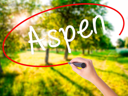 Woman Hand Writing Aspen on blank transparent board with a marker isolated over green field background. Business concept. Stock Photo
