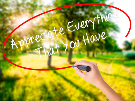 indebtedness: Woman Hand Writing Appreciate Everything That You Have on blank transparent board with a marker isolated over green field background. Stock Photo