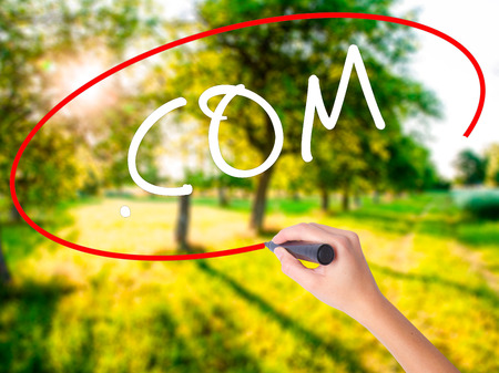 Woman Hand Writing .COM on blank transparent board with a marker isolated over green field background. Business concept. Stock Photo