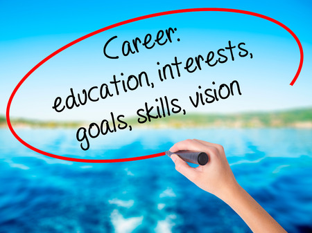 Woman Hand Writing Career: education, interests, goals, skills, vision on blank transparent board with a marker isolated over water background. Business concept. Stock Photo Stock Photo
