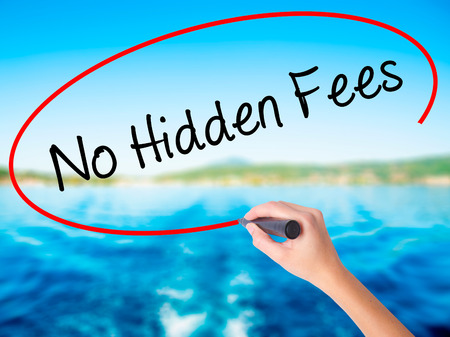 hidden fees: Woman Hand Writing No Hidden Fees on blank transparent board with a marker isolated over water background. Business concept. Stock Photo Stock Photo
