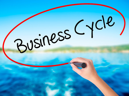 Woman Hand Writing Business Cycle on blank transparent board with a marker isolated over water background. Business concept. Stock Photo