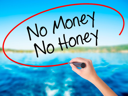 Woman Hand Writing No Money No Honey on blank transparent board with a marker isolated over water background. Business concept. Stock Photo Stock Photo