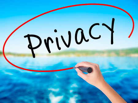 Woman Hand Writing Privacy on blank transparent board with a marker isolated over water background. Business concept. Stock Photo