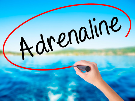 adrenaline: Woman Hand Writing Adrenaline  on blank transparent board with a marker isolated over water background. Business concept. Stock Photo Stock Photo