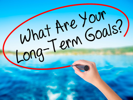 Woman Hand Writing What Are Your Long-Term Goals? on blank transparent board with a marker isolated over water background. Business concept. Stock Photo