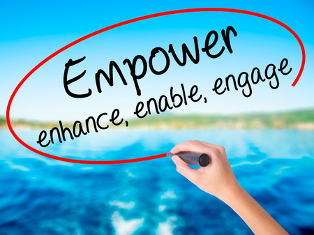 Woman Hand Writing Empower enhance, enable, engage on blank transparent board with a marker isolated over water background. Business concept. Stock Photo