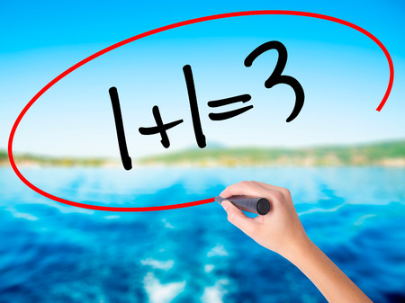 Woman Hand Writing 1+1=3 on blank transparent board with a marker isolated over water background. Business concept. Stock Photo