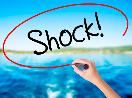 gosh: Woman Hand Writing Shock! on blank transparent board with a marker isolated over water background. Business concept. Stock Photo Stock Photo