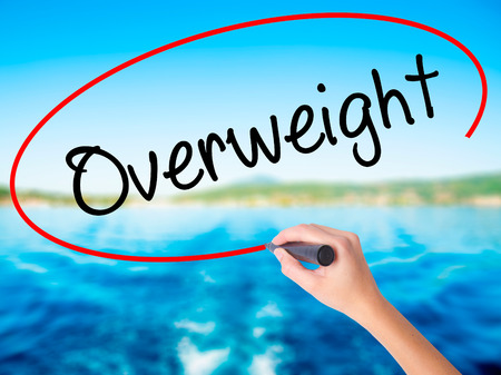 Woman Hand Writing Overweight  on blank transparent board with a marker isolated over water background. Business concept. Stock Photo