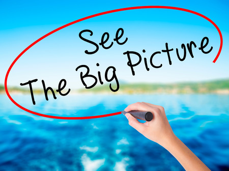 big picture: Woman Hand Writing See The Big Picture on blank transparent board with a marker isolated over water background. Business concept. Stock Photo