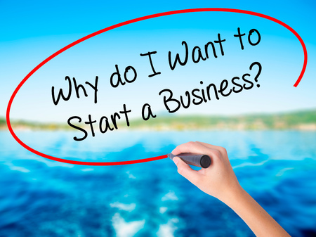 Woman Hand Writing Why do I Want to Start a Business? on blank transparent board with a marker isolated over water background. Business concept. Stock Photo