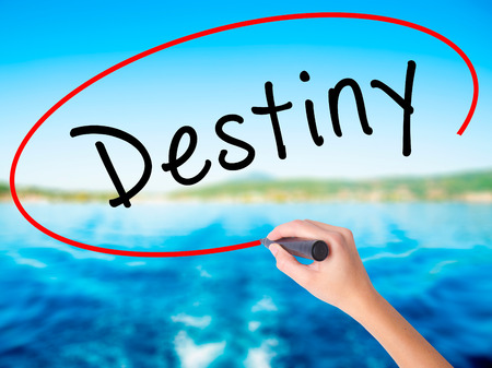 destiny: Woman Hand Writing Destiny black marker on visual screen. Isolated on white. Business, technology, internet concept. Stock Image