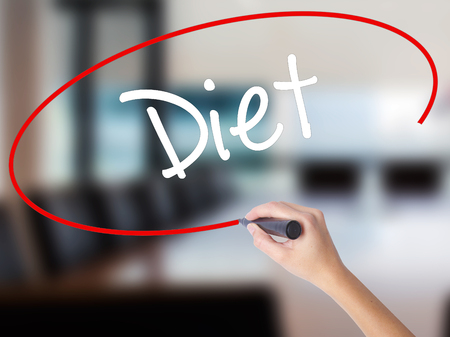 Woman Hand Writing Diet (in Portuguese)  with a marker over transparent board. Isolated on Office. Business concept. Stock Photo Stock Photo