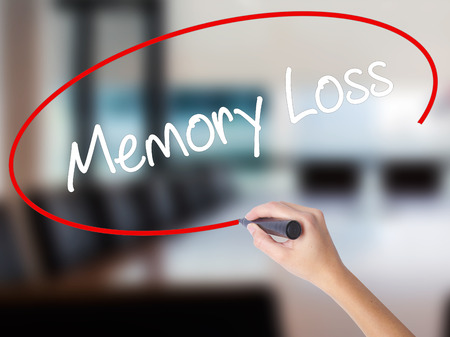 Woman Hand Writing Memory Loss with a marker over transparent board. Isolated on Office. Business concept. Stock Photo