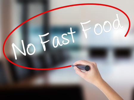 Woman Hand Writing No Fast Food with a marker over transparent board. Isolated on Office. Business concept. Stock Photo