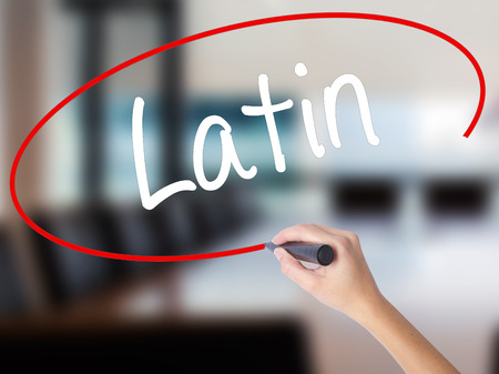 Woman Hand Writing Latin with a marker over transparent board. Isolated on Office. Business concept. Stock Photo