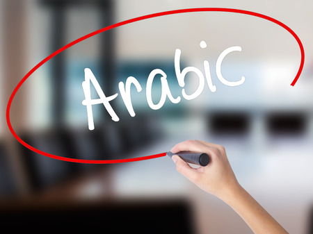 Woman Hand Writing Arabic  with a marker over transparent board. Isolated on Office. Business concept. Stock Photo Stock Photo