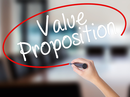 resonating: Woman Hand Writing Value Proposition with a marker over transparent board. Isolated on Office. Business concept. Stock Photo