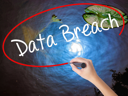 intentional: Woman Hand Writing Data Breach with marker over transparent board. Isolated on nature. Business concept. Stock Photo