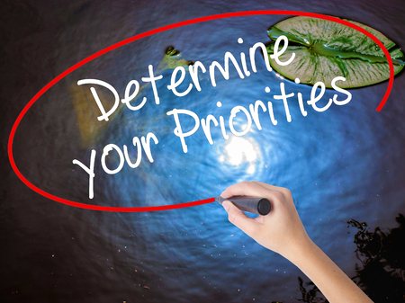 Woman Hand Writing Determine your Priorities with marker over transparent board. Isolated on nature. Business concept. Stock Photo
