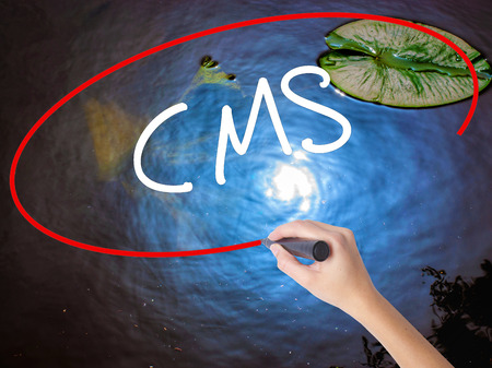 meta: Woman Hand Writing CMS (Custom Management System) with marker over transparent board. Isolated on nature. Business concept. Stock Photo
